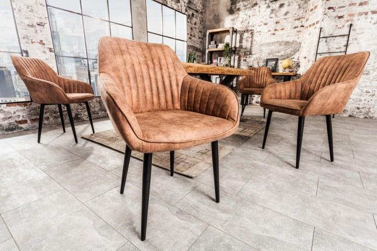 edler design stuhl turin vintage light brown mit armlehne