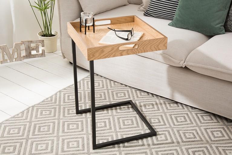 Design Beistelltisch CIANO Tablett Tisch Eiche Schwarz Tabletttisch