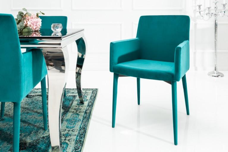 exklusiver design stuhl milano mit armlehne samt aqua