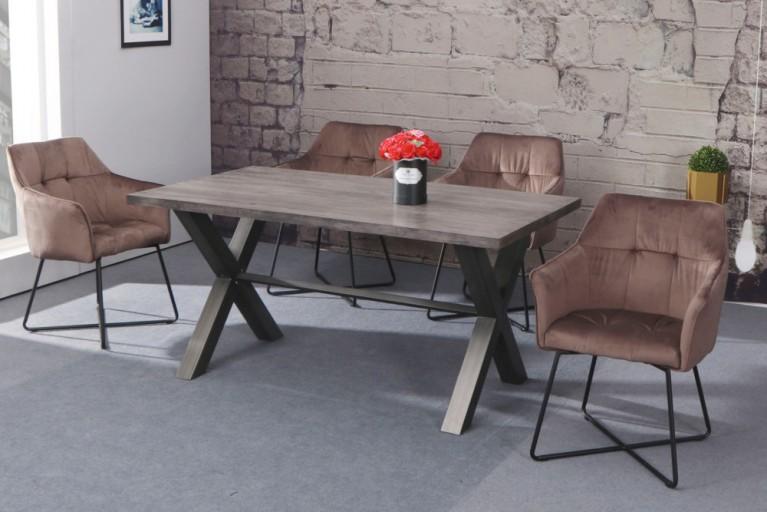 Exklusiver Design Stuhl LOFT Samt Cappuccino Braun Mit Armlehne