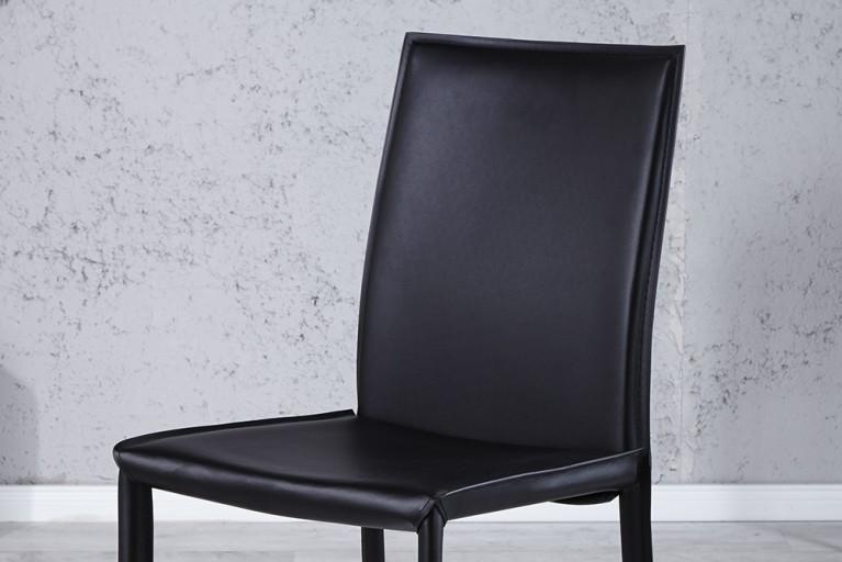 Exklusiver Design Stuhl Milano ECHT LEDER schwarz Ziernaht
