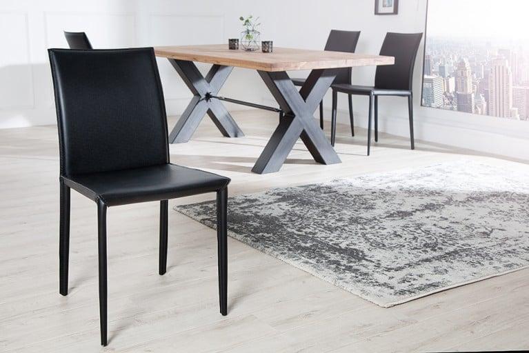 Exklusiver design stuhl milano echt leder wei ziernaht for Design stuhl schwarz