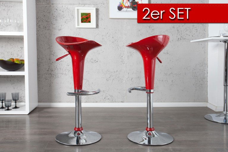 2er Set Design Barhocker POP rot mit Hebel
