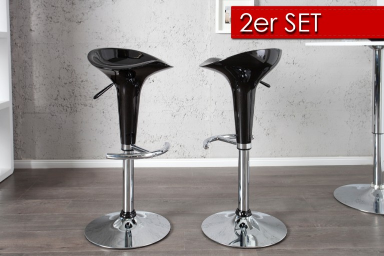 2er Set Design Barhocker POP schwarz mit Hebel