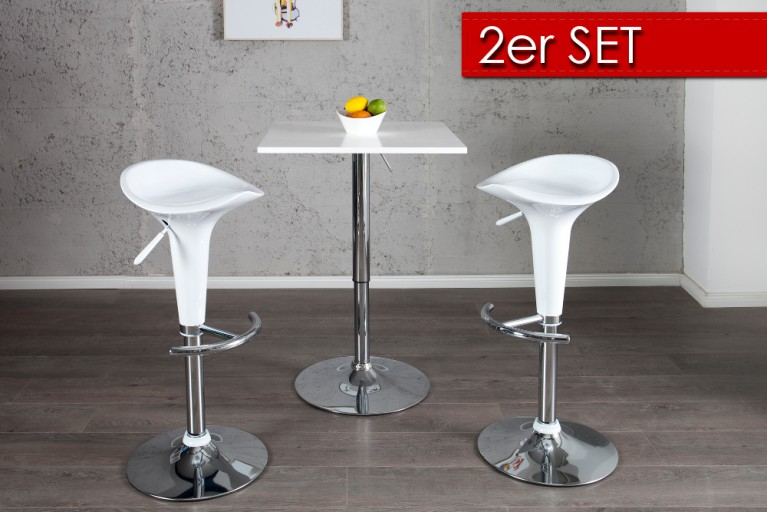 2er Set Design Barhocker POP weiß mit Hebel
