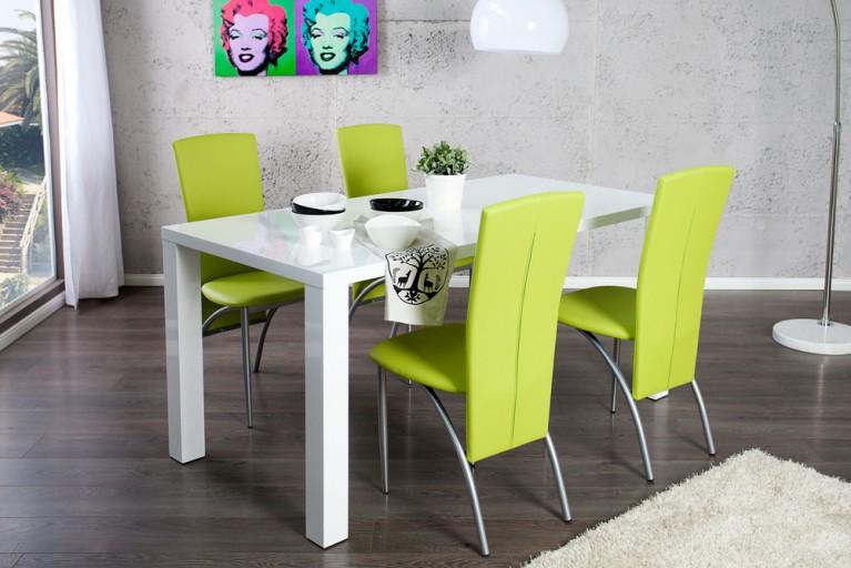 Esszimmer-Set Tisch LUCENTE 160cm Hochglanz weiß und 4 Design Stühle NICO limette