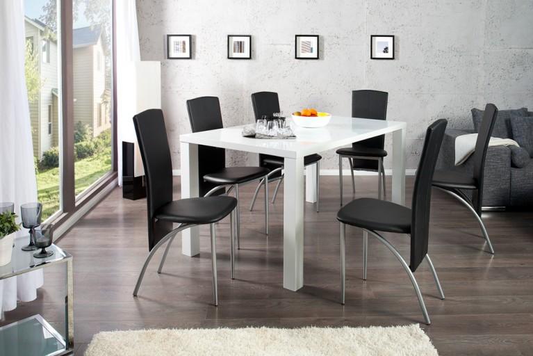 Esszimmer-Set Tisch LUCENTE 160cm Hochglanz weiß und 4 Design Stühle NICO schwarz
