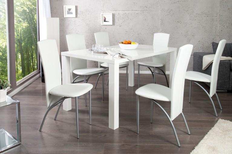 Esszimmer-Set Tisch LUCENTE 160cm Hochglanz weiß und 4 Design Stühle NICO weiß
