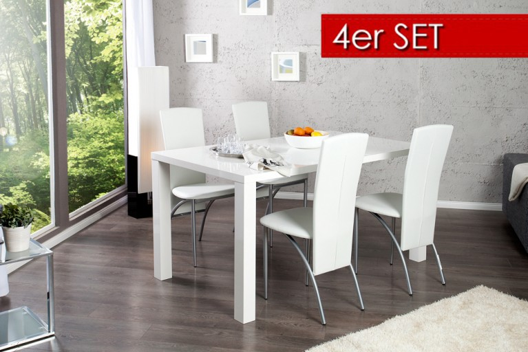 4er Set Exklusiver Design Stuhl NICO mit hoher Rückenlehne weiß