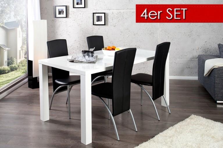 4er Set Exklusiver Design Stuhl NICO mit hoher Rückenlehne schwarz