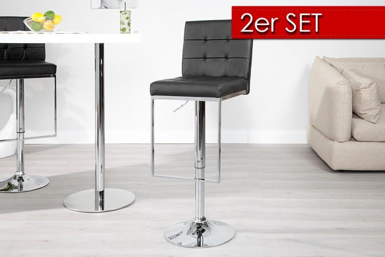 2er SET Design Barhocker CHARLESTON II schwarz Barstuhl Chrom