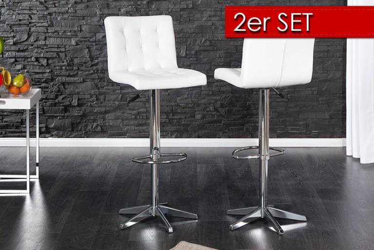 2er Set Stylischer Barhocker LEON weiss Barstuhl mit Steppung und Chromgestell