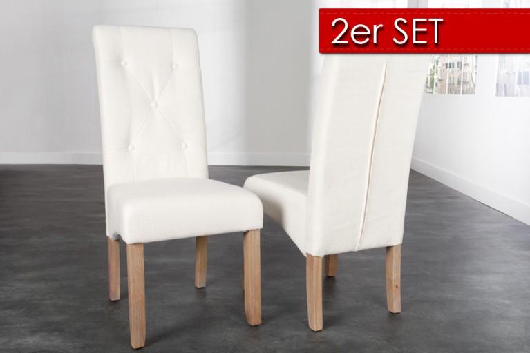 2er Set Kolonial Stuhl VALENTINO mit Nackenrolle mit Knöpfen Leinenstoff natur