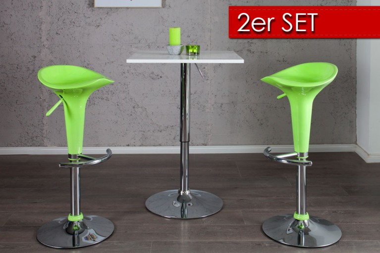 2er Set Design Barhocker POP lime mit Hebel