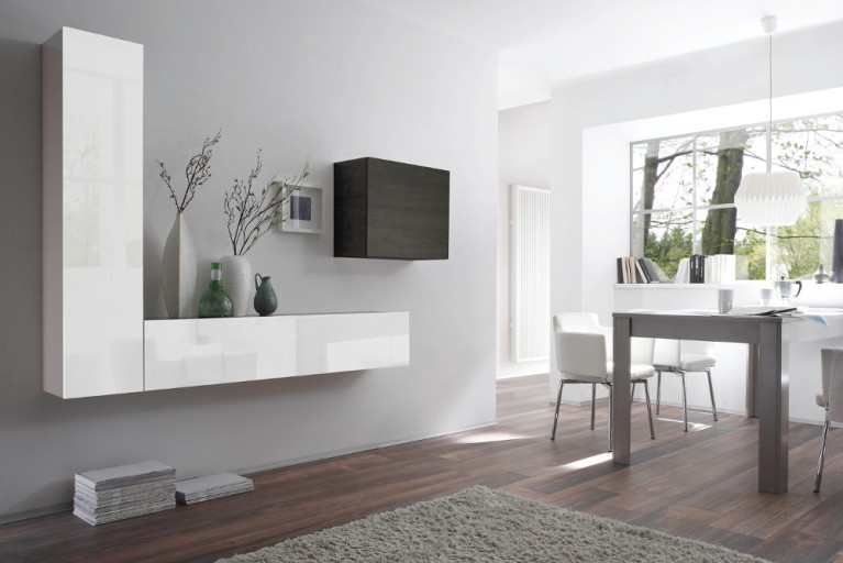 Moderne CUBE Wohnwand MILANO No.6 made in Italy weiß Highgloss und Wenge-Optik
