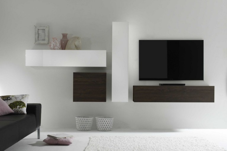 Moderne CUBE Wohnwand MILANO No.9 made in Italy weiß Highgloss und Wenge-Optik