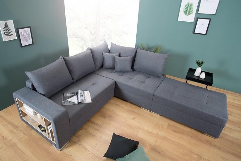 Modernes Design Ecksofa VANCOUVER 225cm grau mit Ablagefach Schlaffunktion Federkern inkl. Hocker
