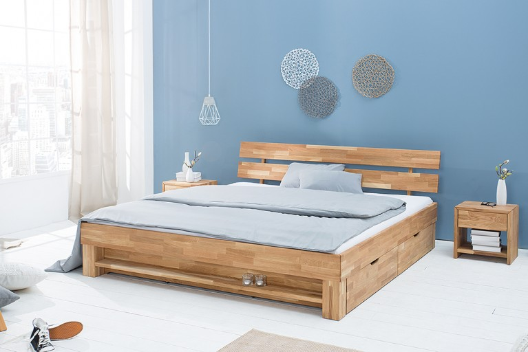 Modernes Design Doppelbett WOTAN 180cm Massivholz Eiche geölt inkl. Regal und Schubladen