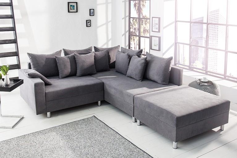 Design Ecksofa LOFT grau Soft Baumwolle mit Hocker Federkern Sofa OT beidseitig aufbaubar