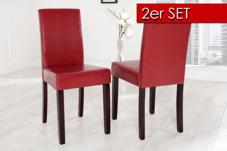 2er SET Kolonialstuhl GENUA bordeaux rot dunkel lackierte Beine Pinienholz Esszimmerstuhl
