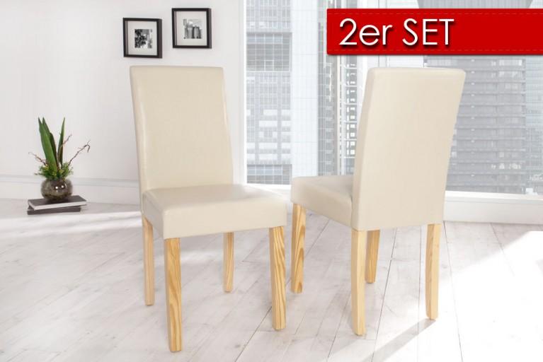 2er SET Kolonialstuhl GENUA beige mit hellen Beinen Pinienholz Esszimmestuhl