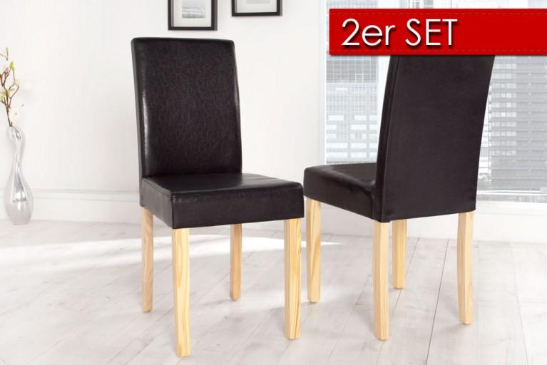 2er SET Kolonialstuhl GENUA schwarz mit hellen Beinen Pinienholz Esszimmerstuhl