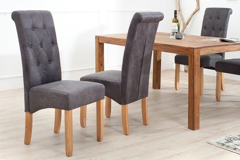 2er Set Edler Kolonial Stuhl VALENTINO mit Nackenrolle grau Vintage Look mit Zierknöpfen Massivholz