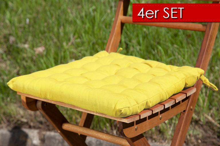 4er Set Design Sitzkissen SUMMER Gelb 40x40cm