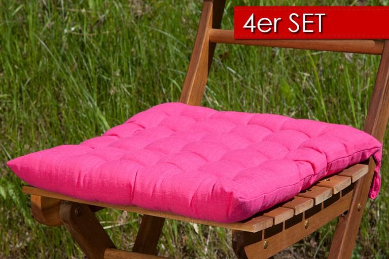 4er Set Design Sitzkissen SUMMER Pink 40x40cm