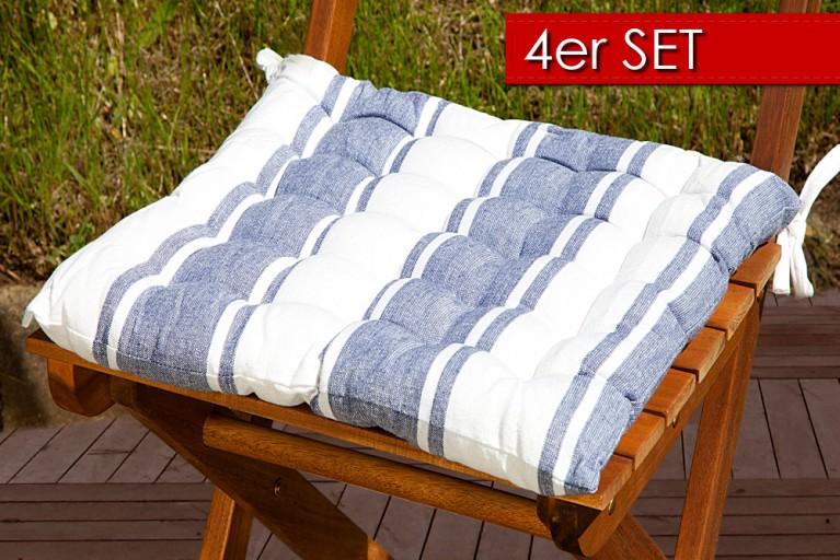 4er Set Design Sitzkissen SUMMER blau weiß gestreift 40x40cm