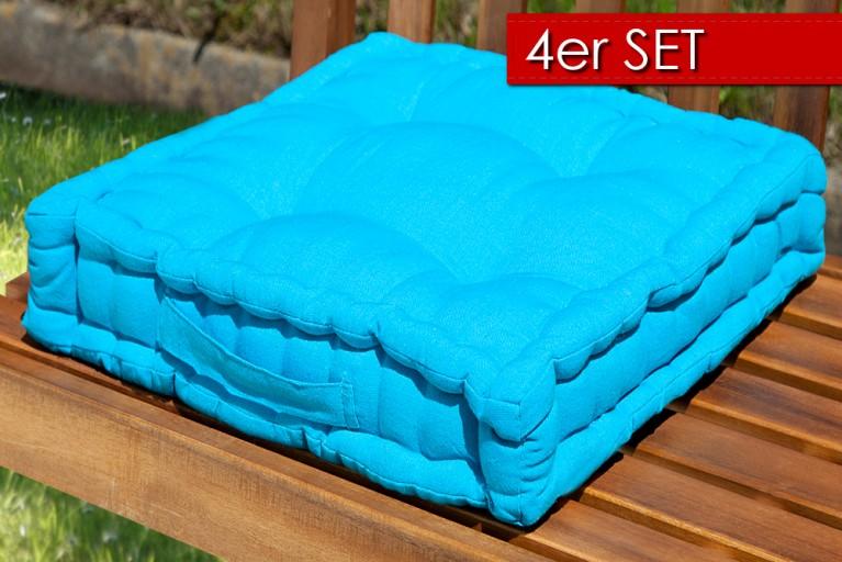 4er Set Design Sitzkissen SUN Türkis 40x40cm Auflage