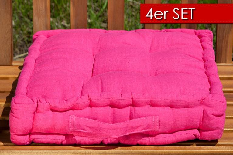 4er Set Design Sitzkissen SUN Pink 40x40cm Auflage