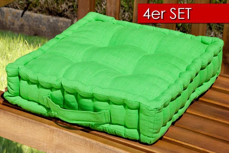 4er Set Design Sitzkissen SUN Lime 40x40cm Auflage