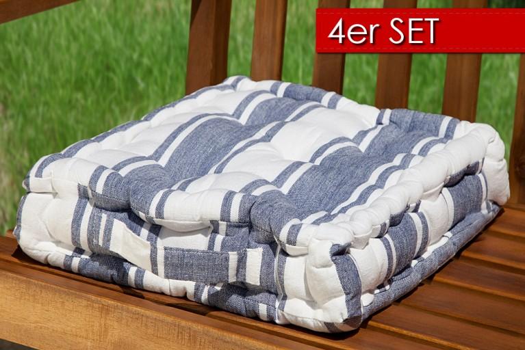 4er Set Design Sitzkissen SUN Blau Weiss gestreift 40x40cm Auflage