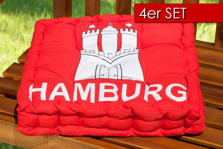 4er Set Design Sitzkissen SUN Hamburg Wappen 40x40cm Auflage