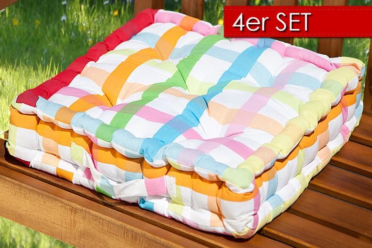 4er Set Design Sitzkissen SUN Bunt Kariert 40x40cm Auflage