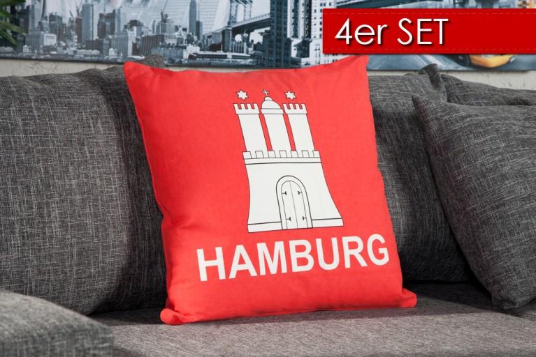 4er Set Stylisches Kissen HAMBURG 50x50cm rot Landesflagge