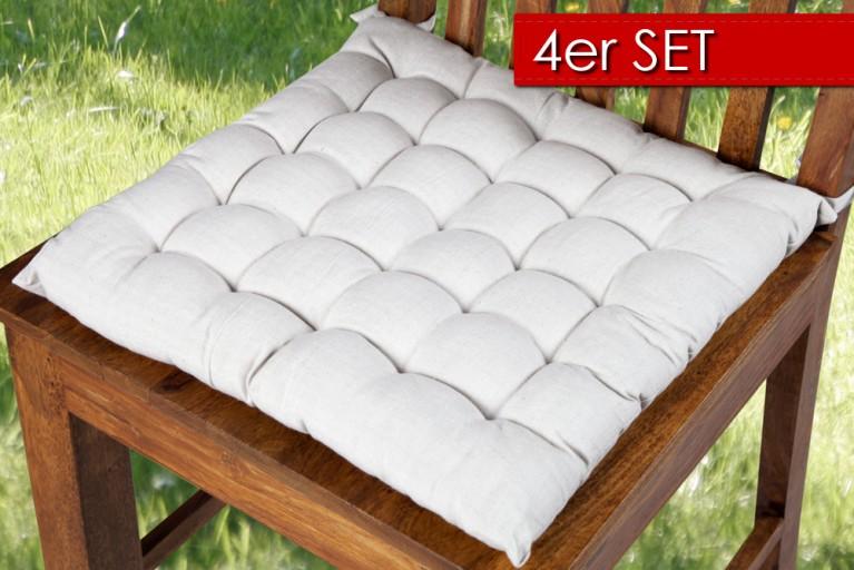 4er Set Design Sitzkissen SUMMER hellgrau 40x40cm