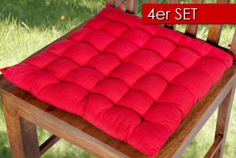4er Set Design Sitzkissen SUMMER rot 40x40cm
