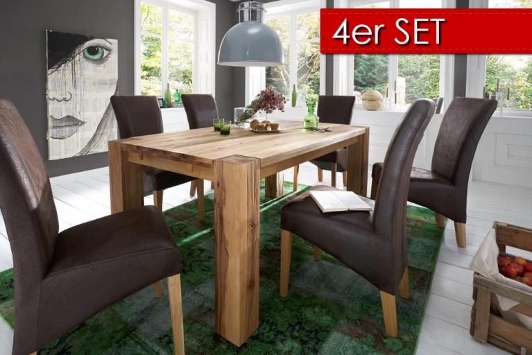 4er Set Hochwertiger Polsterstuhl LORD dark coffee mit Eiche Beinen