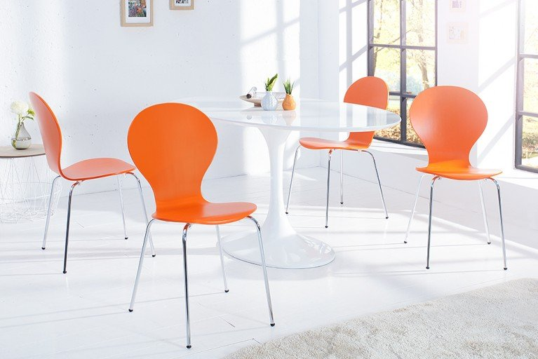 4er Set Design Stuhl FORM Orange stapelbar