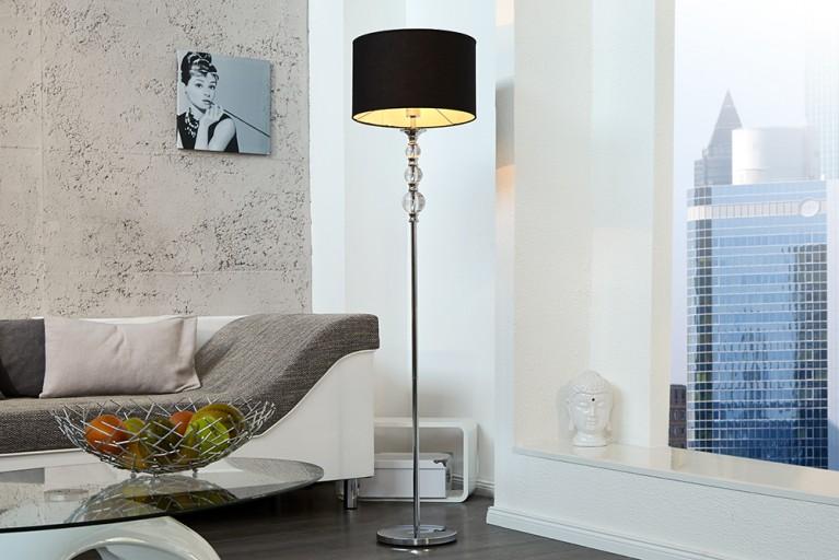 Außergewöhnliche Stehlampe ALLURE schwarz chrome