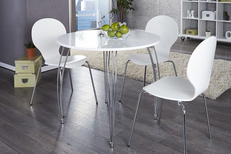 Stilvoller runder Esstisch ARRONDI weiß chrom 90cm Konferenztisch