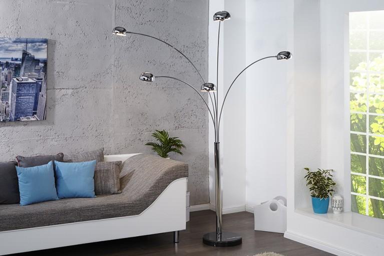 Bogenlampe FIVE LIGHTS mit schwarzem Marmorfuß Bogenleuchte