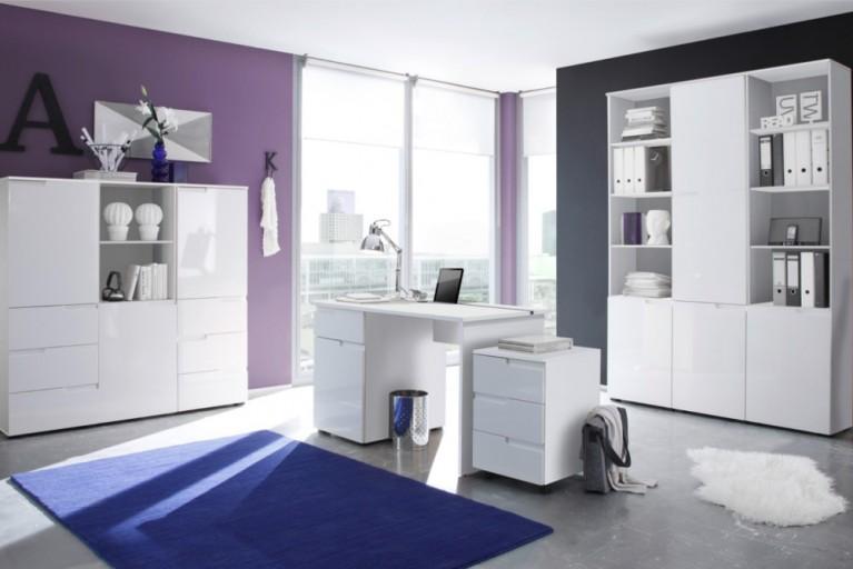 Bürokombination SPICE I 8tlg. mit Hochglanzfront weiß Schränke Schreibtisch und Rollcontainer