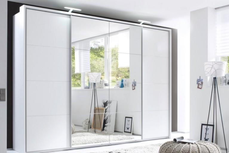 Exklusiver Design Schwebetürenschrank PORTLAND XXL 315 cm weiß Kleiderschrank inkl. Zubehör