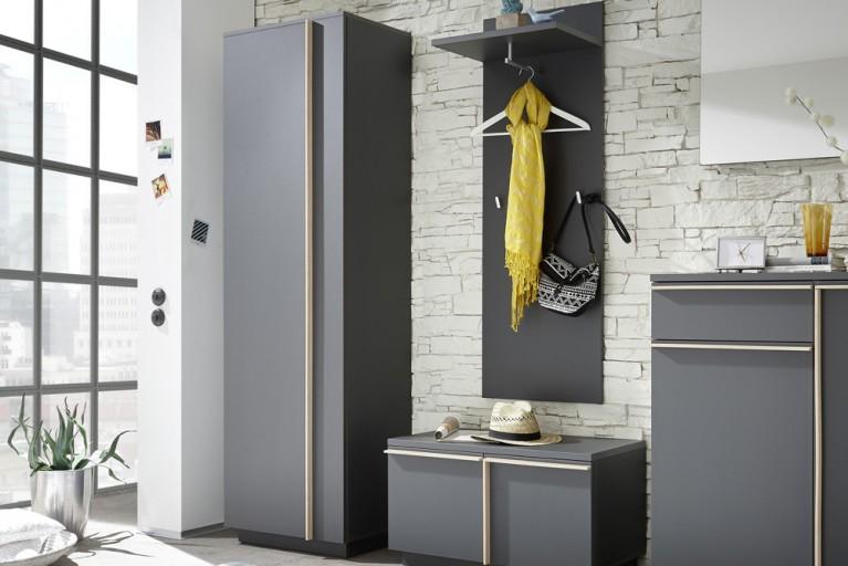 Modernes Design Garderoben Set MIKADO 5tlg. graphit edelmatt abgesetzte Griffleisten in Sonoma