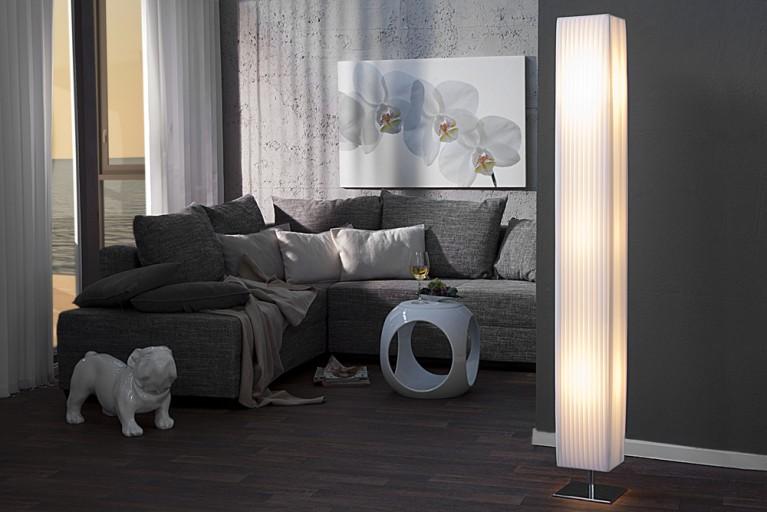Edle Design Stehlampe PARIS weiss 160cm Plissee Schirm XXL