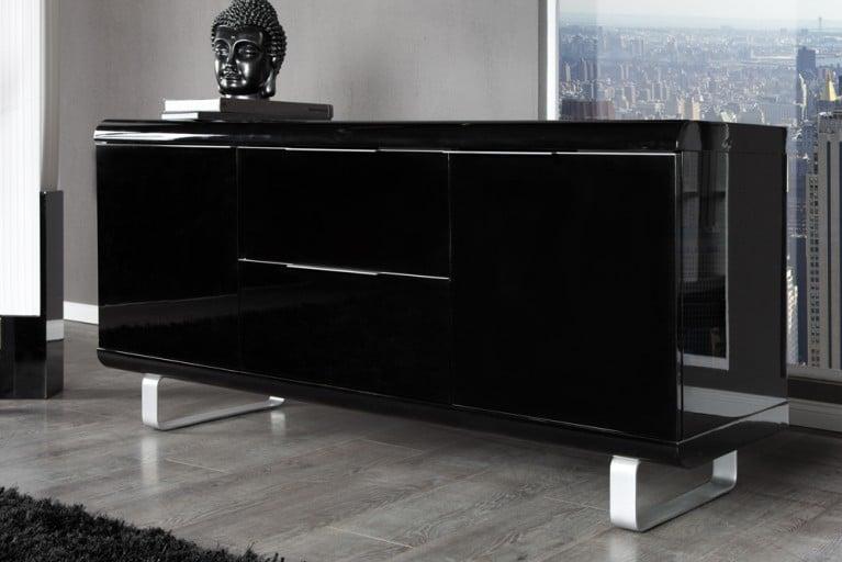 Design Sideboard RIO hochglanz Lack schwarz Kommode 2 Schubladen 2 Türen