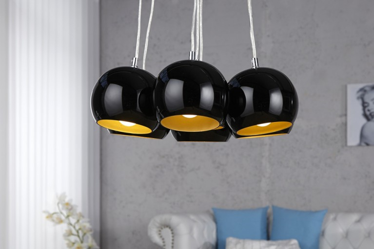 Designer Hängeleuchte BLACK PEARLS schwarz gold